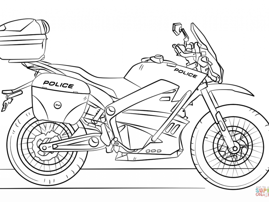 1024x768 Police Motorcycle Coloring Page Free Printable Amazing Pages Adult