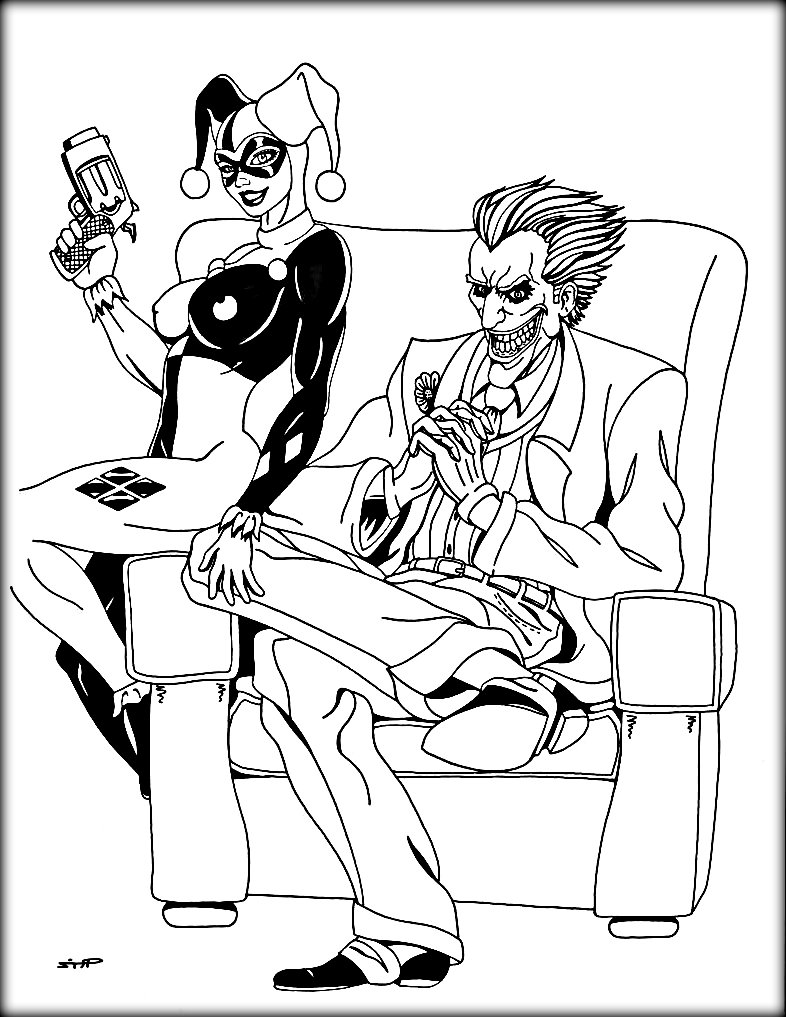 786x1017 Trend Harley Quinn And The Joker Coloring Page
