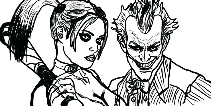740x374 Harley Quinn Coloring Pages Vintage Joker And Harley Quinn