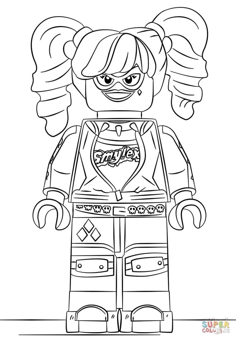 824x1186 Cool Lego Harley Quinn Coloring Page Free Printable Pages