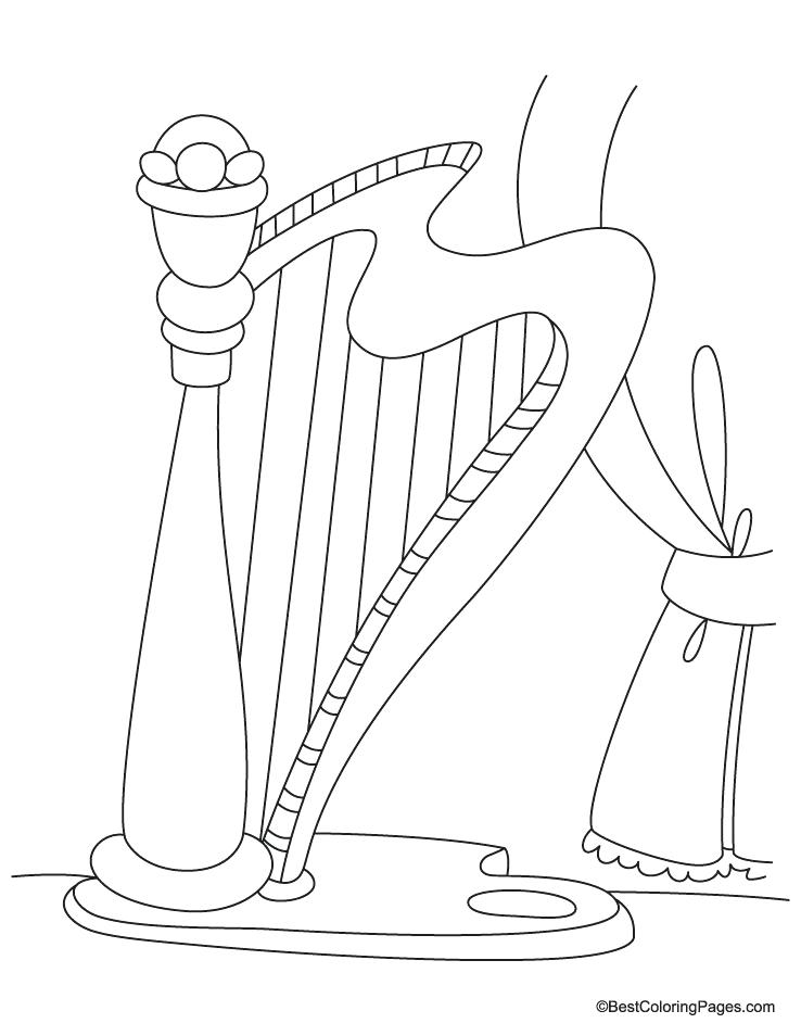 738x954 Harp Coloring Page Harp Coloring Page Irish Harp Colouring Page
