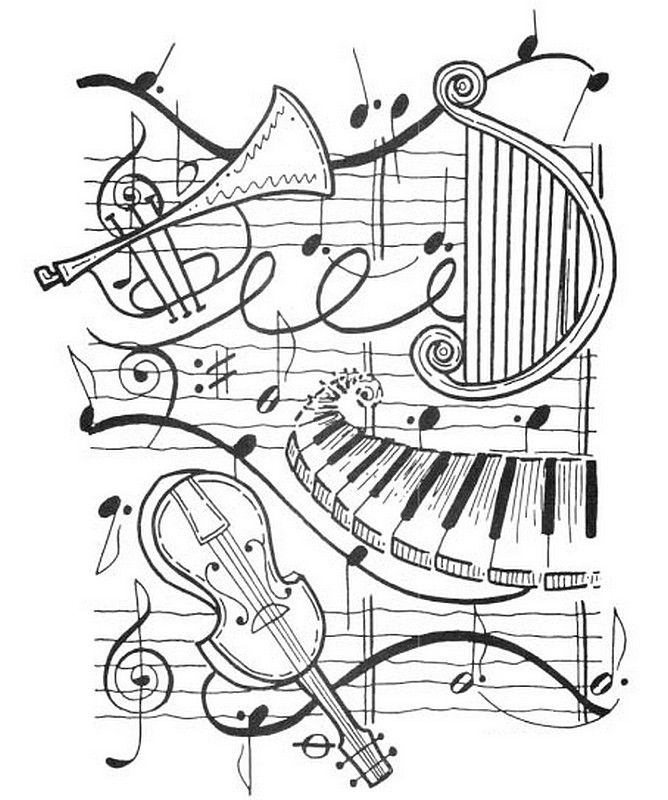 668x800 Adult Coloring Page Harp, Trumpet, Violin, Piano Let's Party