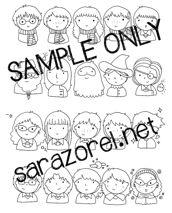 570x704 Harry Potter Doodles Coloring Page Printable Chibi Kawaii
