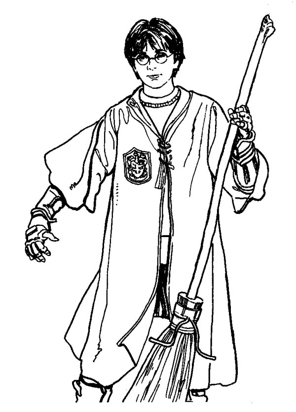 600x834 Quidditch Player Harry Potter With Firebolt Coloring Page
