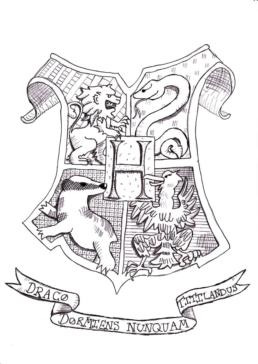 900x1268 Harry Potter Coloring Pages Hogwarts Crest