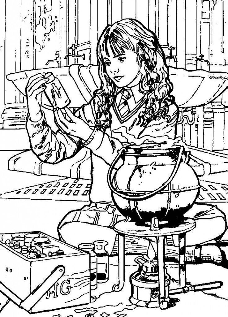737x1024 Hermione Doing Magic Free Coloring Page Harry Potter, Movies