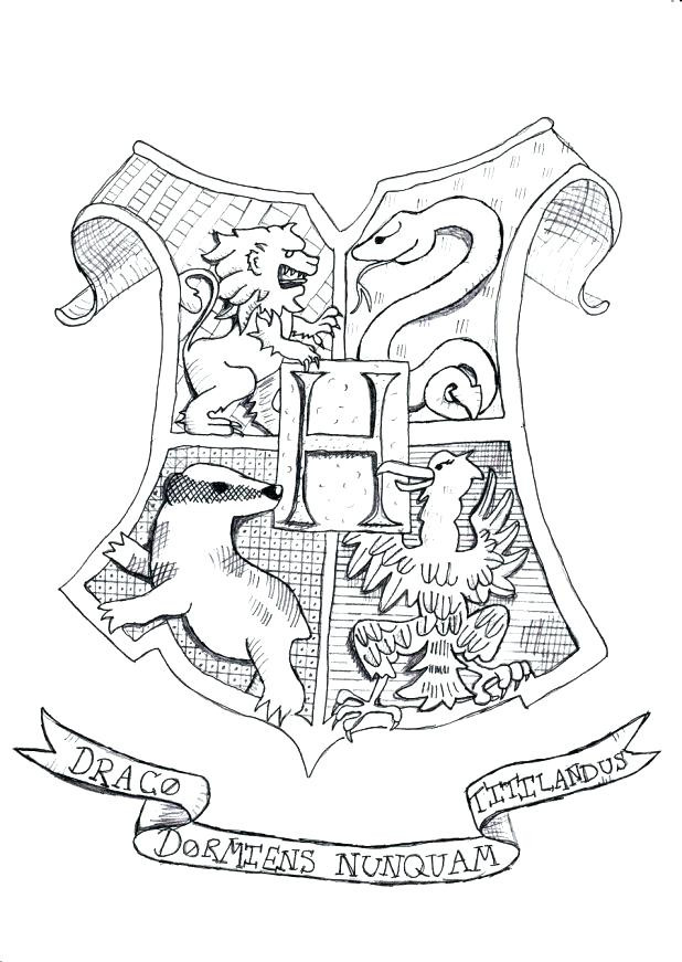 618x871 Harry Potter Coloring Pages Hogwarts Crest In This