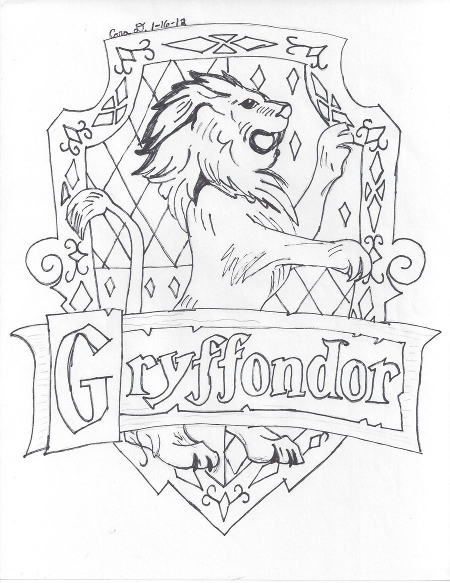 900x1166 Harry Potter Coloring Pages Hogwarts Crest New Gryffindor Showy