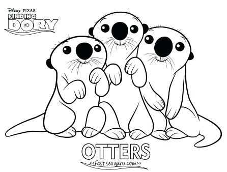 446x338 Otter Coloring Page Cartoon Finding Dory Otters Coloring Page