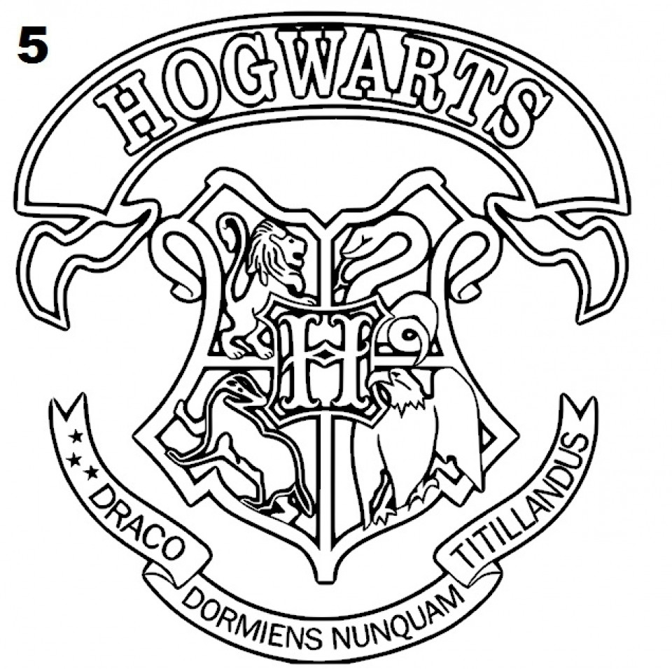 960x956 Harry Potter Coloring Pages Hogwarts Crest Home Exceptional Page