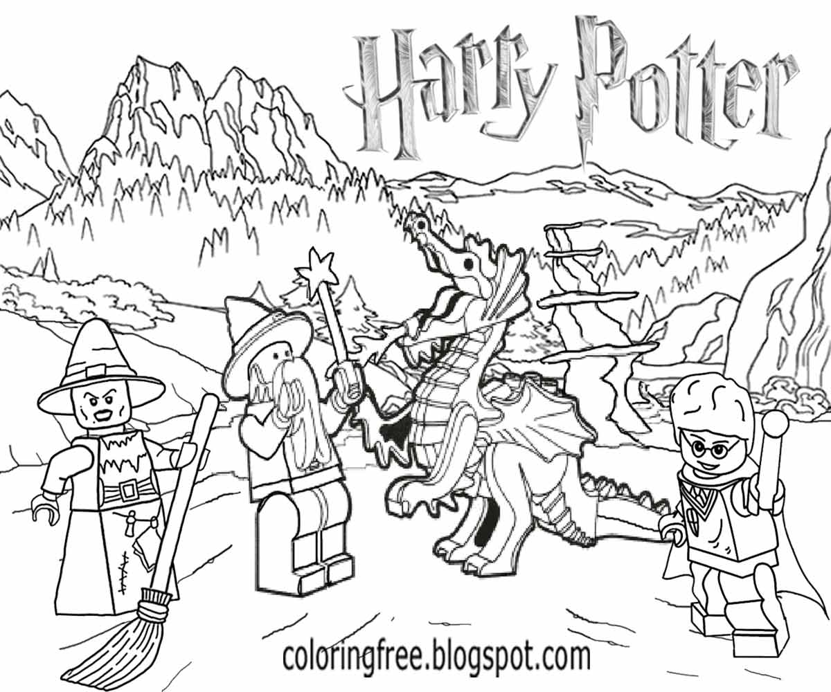 1200x1000 Harry Potter Lego Coloring Pages To Print Page Striking Dragon