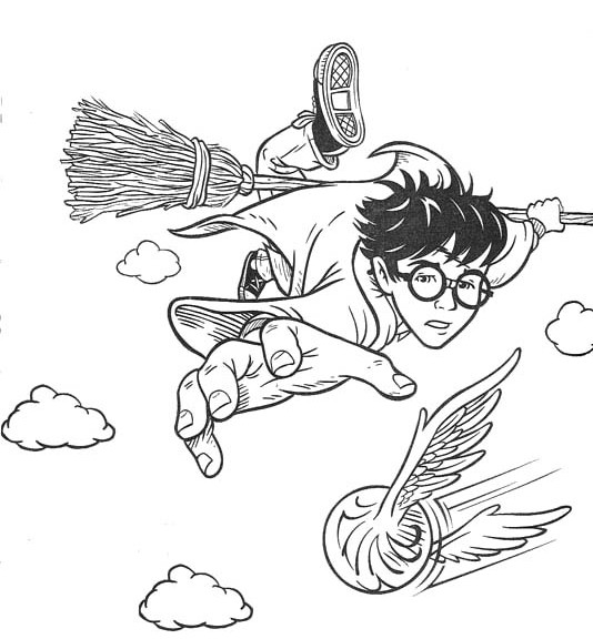 534x576 Harry Potter Coloring Pages Quidditch Printable To Humorous Draw