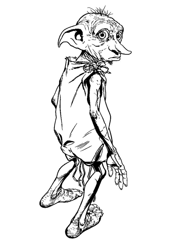 736x1022 Dobbie Harry Potter Free Coloring Page Harry Potter, Movies