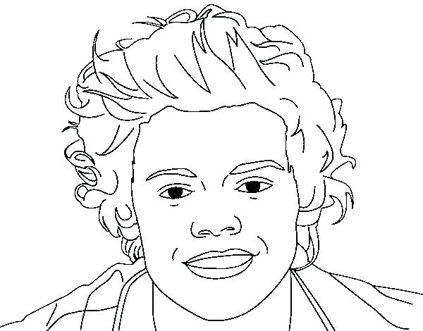600x470 One Direction Harry Styles Coloring Pages Portrait Of Page