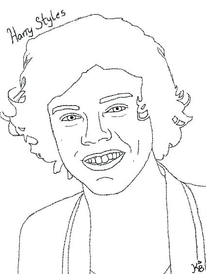 425x566 One Direction Harry Styles Coloring Pages Printable