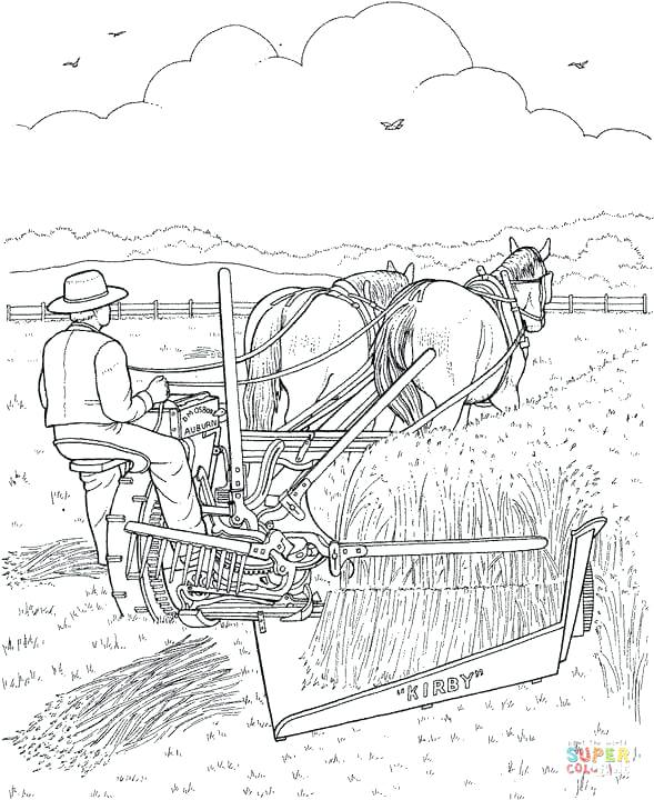 589x720 Harvest Coloring Pages It Is Harvest Time The Farmer Is Harvesting