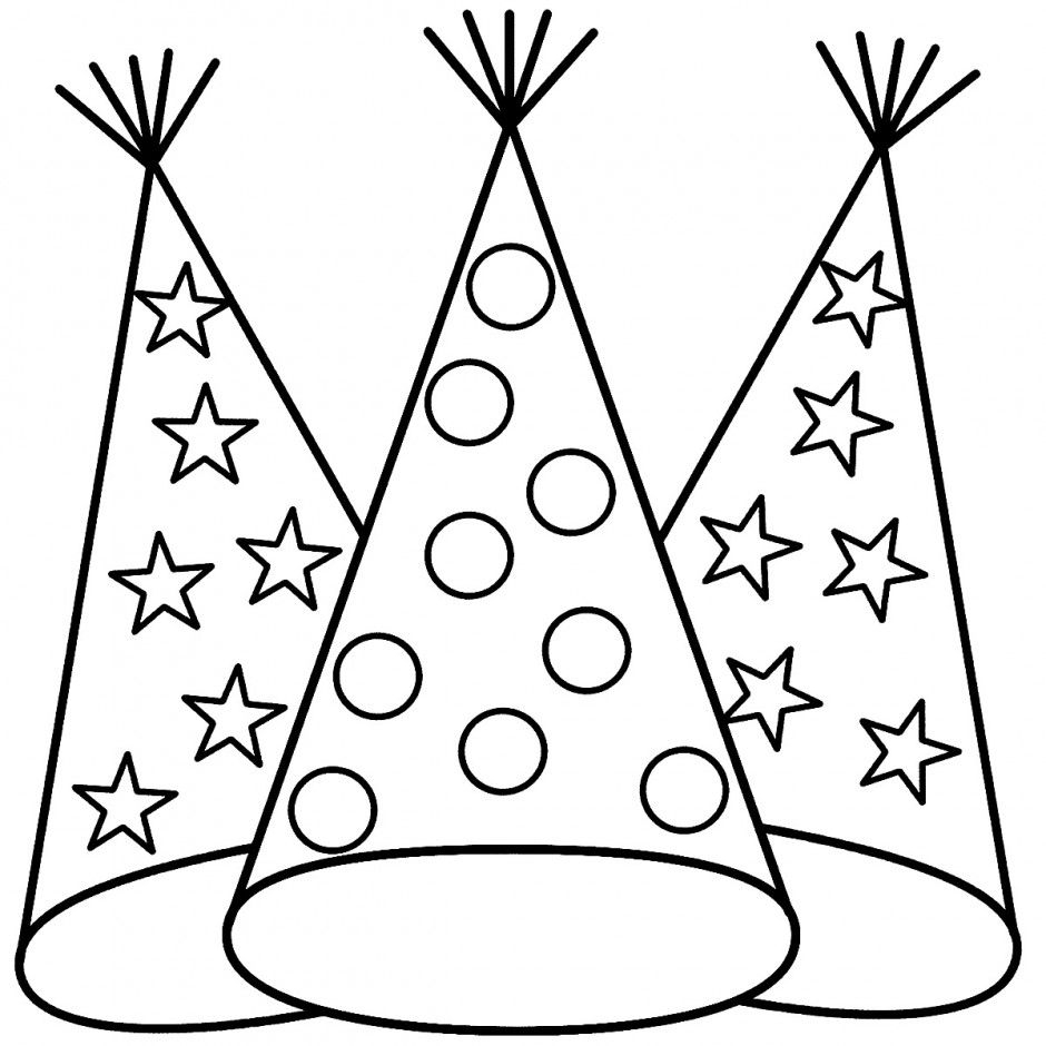940x940 Birthday Hat Coloring Page Best Happy Birthday Wishes