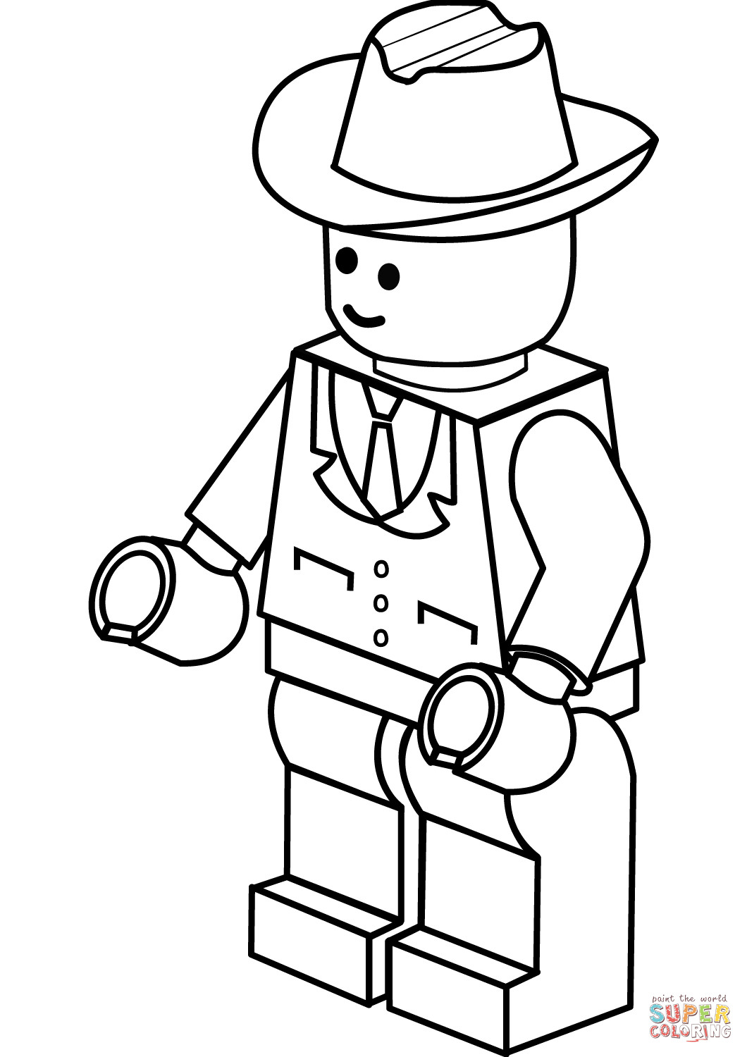 1060x1500 Lego Man In Cowboy Hat Coloring Page Free Printable Pages