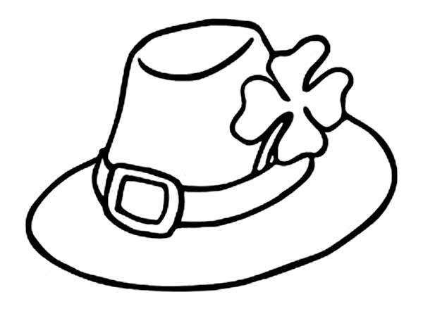 600x449 Leprechauns Hat And A Four Leaf Clovers Coloring Page Kids Play