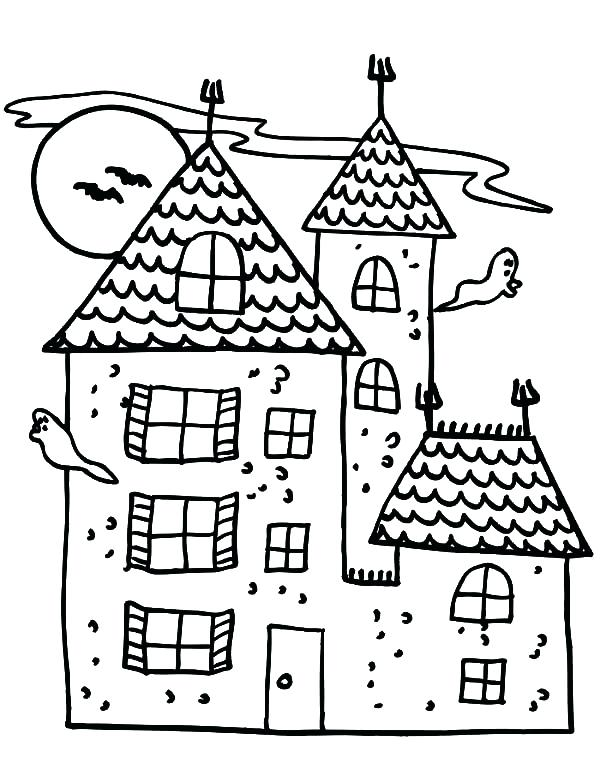 600x775 Haunted House Coloring Pages Haunted Castle Coloring Pages Haunted