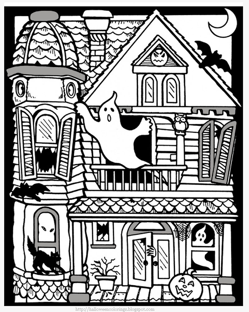 800x1000 Haunted House Coloring Pages