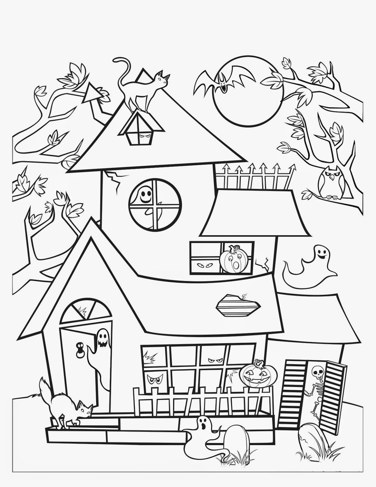 1236x1600 Haunted House Coloring Pages