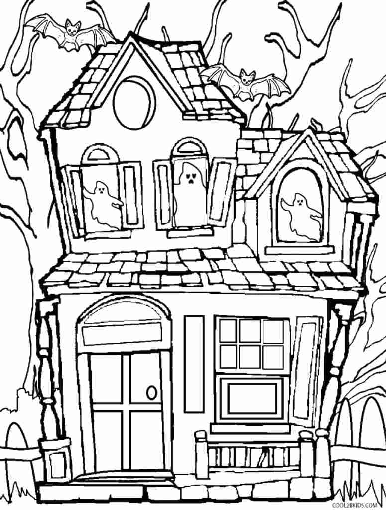 775x1024 Haunted House Coloring Pages Magic Tree Free Printable White Page