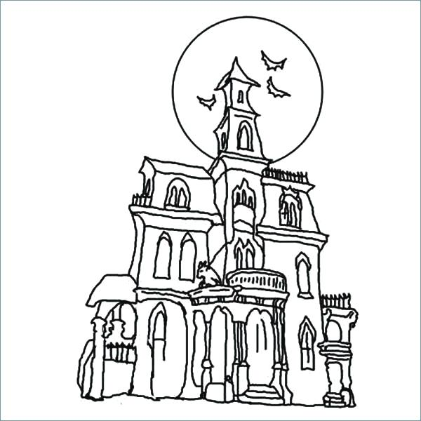 600x600 Haunted House Coloring Pages