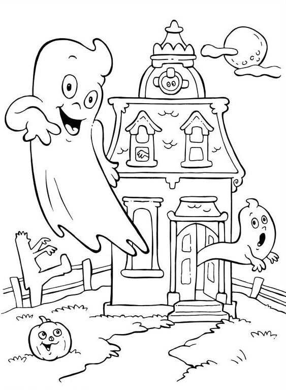 563x767 Haunted House And Little Ghost Coloring Page