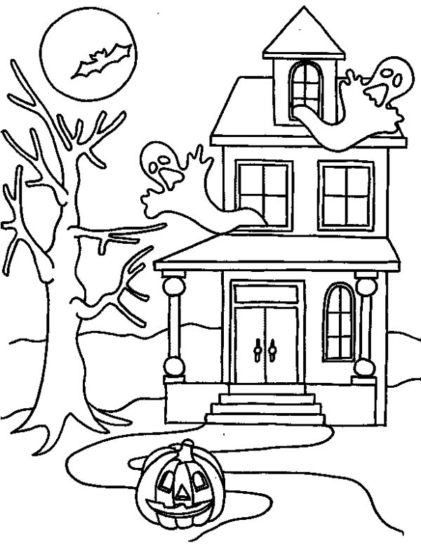 600x780 Haunted House On Halloween Day Coloring Page