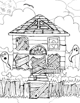 281x364 Haunted House Coloring Page