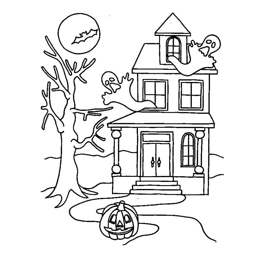 875x902 Best Of Coloring Halloween Coloring Pages Haunted House Free