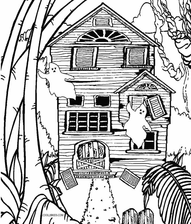 664x780 Printable Haunted House Coloring Pages For Kids