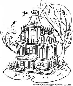 236x279 Spooky Mansion Coloring Page Haunted Houses, Worksheets And House