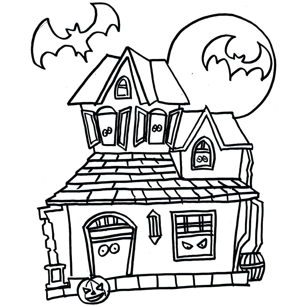 1024x1024 Coloring Pages Haunted House Coloring Page Perfect Pages