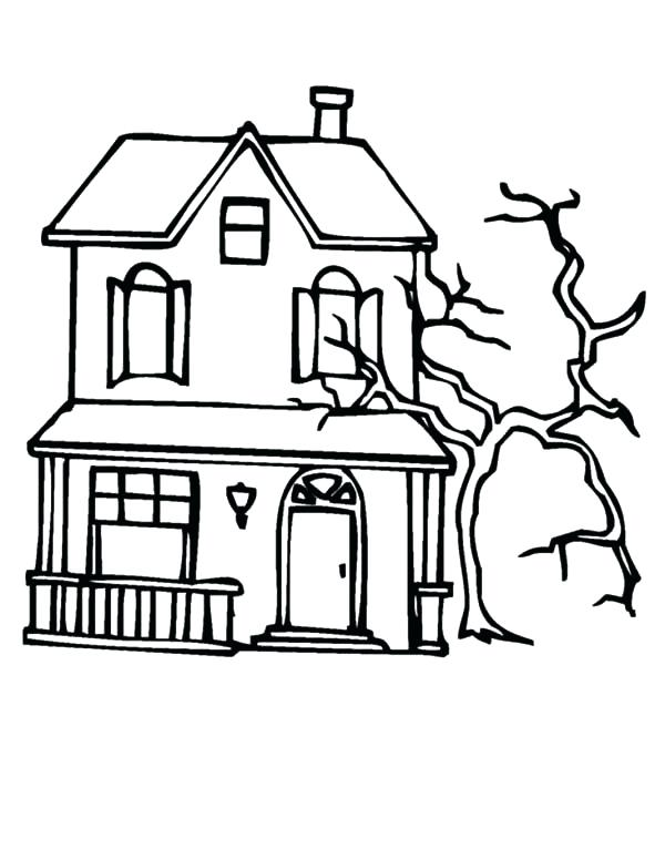 600x776 Haunted House Coloring Sheets