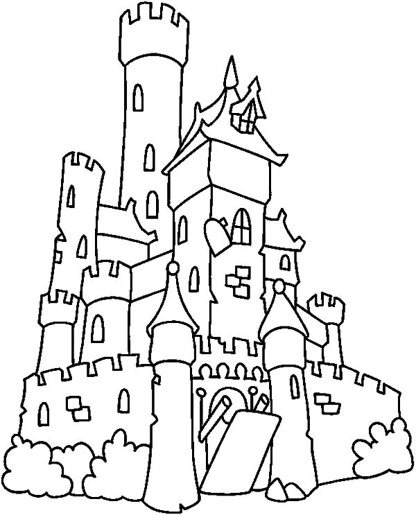 600x743 Spooky Castle Coloring Pages Big Castle Haunted House Coloring