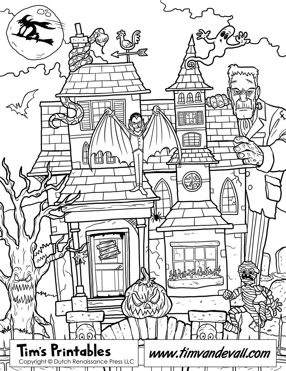 927x1200 Drawn Haunted House Coloring Page Pages Of Houses Haunted House