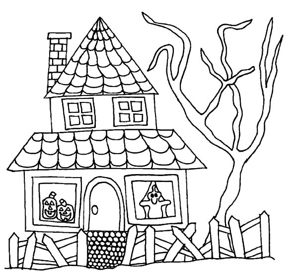 600x563 Halloween Haunted House Coloring Pages Halloween Haunted House