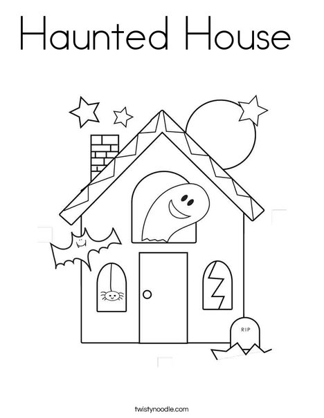 468x605 Haunted House Coloring Page