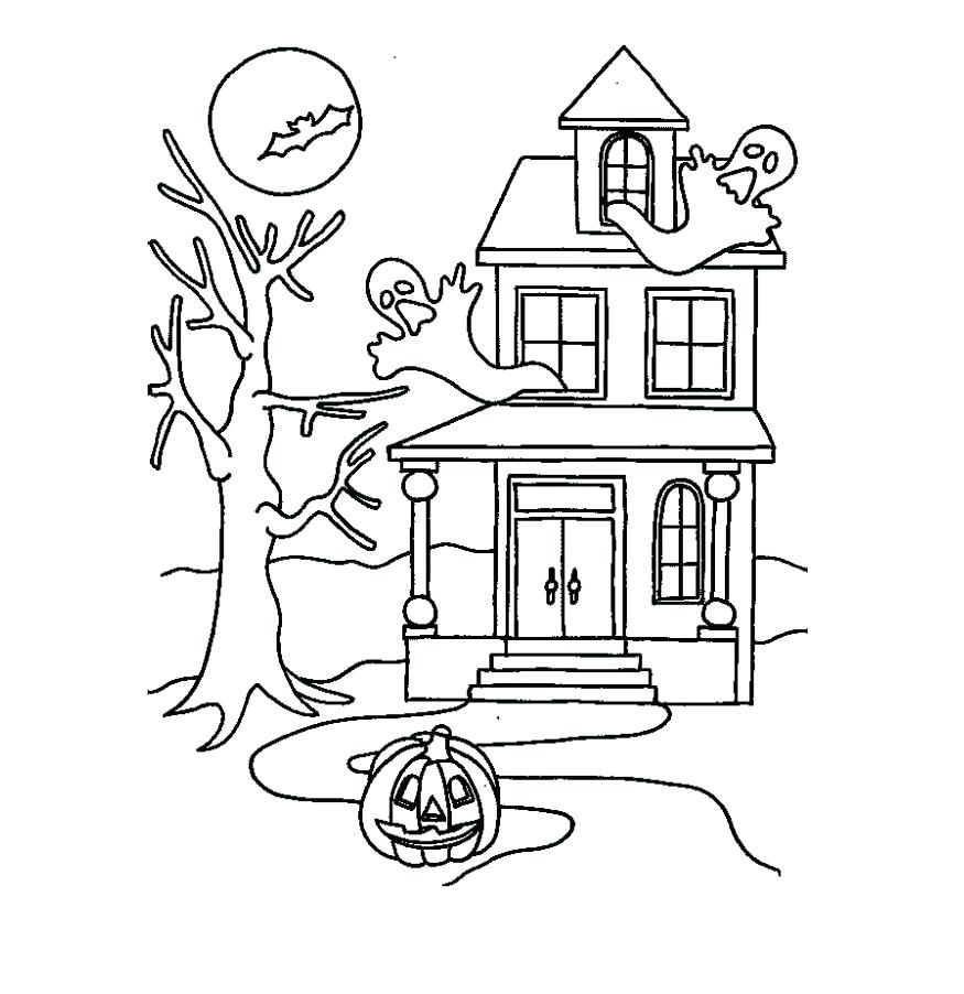 875x902 haunted house coloring pages printables