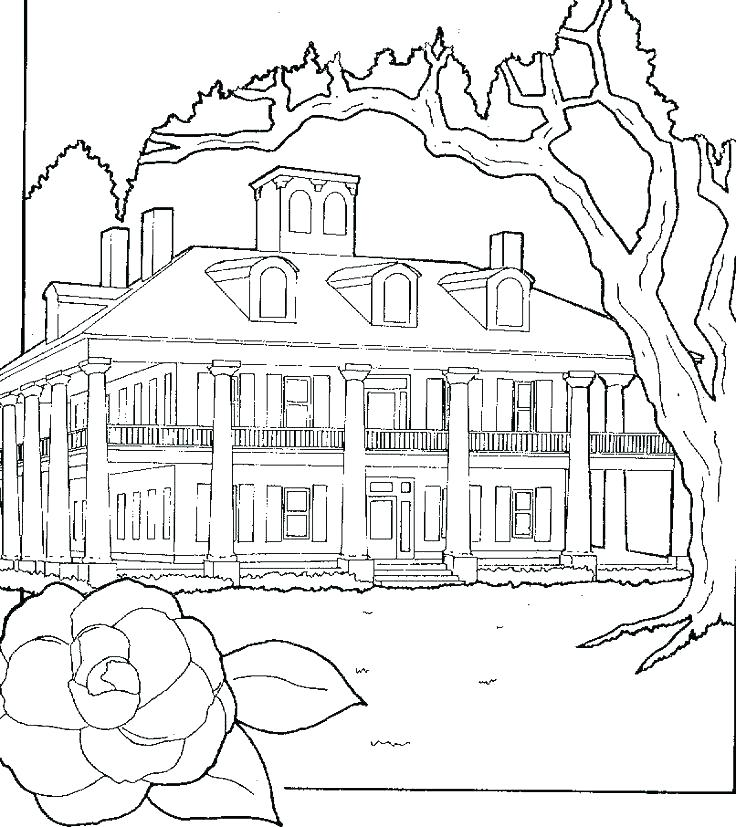 736x827 Coloring Pages Of Haunted Houses Houses Coloring Pages Preschool