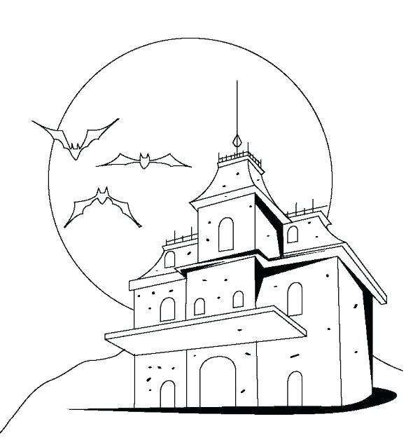 580x638 Haunted Mansion Coloring Pages Free Printable Haunted House