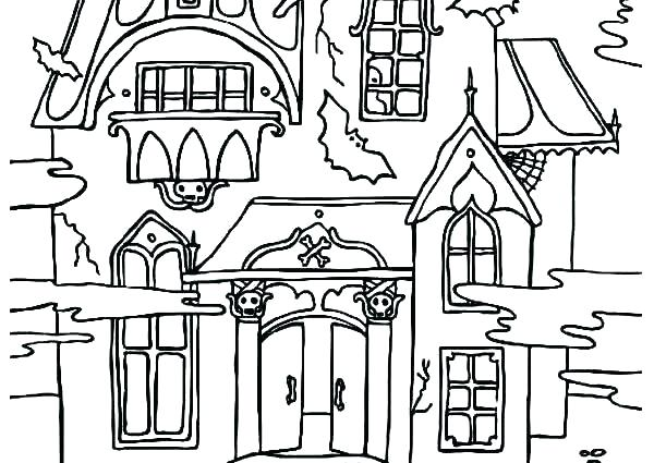 600x425 Scary Haunted House Coloring Pages Haunted Mansion Coloring Pages