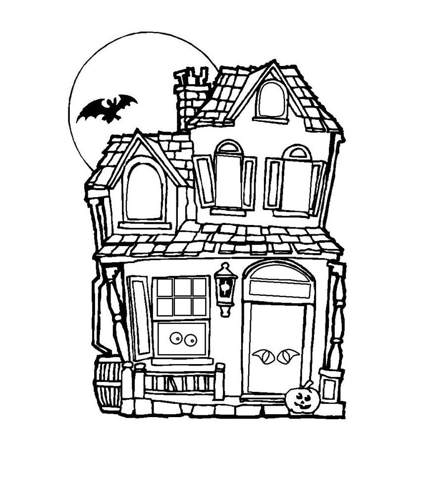 860x983 Awesome Printable Haunted House Coloring Pages For Kids Image