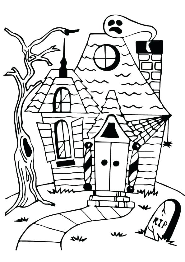 595x842 Spooky House Coloring Pages As Well As Spooky House Coloring Pages