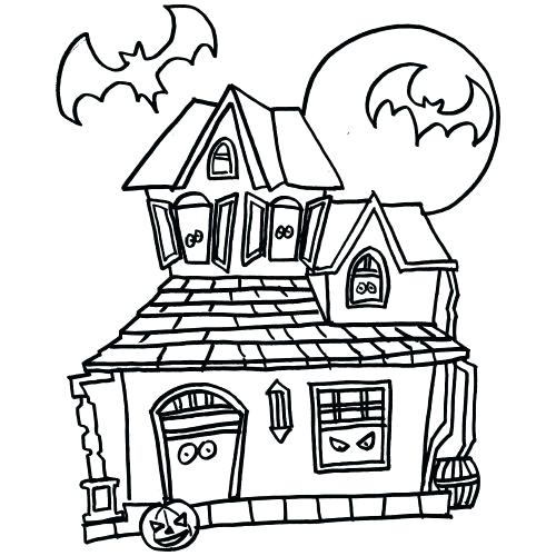 500x500 Haunted House Coloring Pages