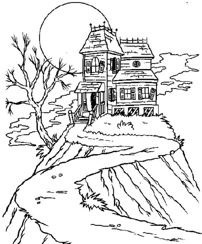660x800 Haunted House Picture Coloring Pages