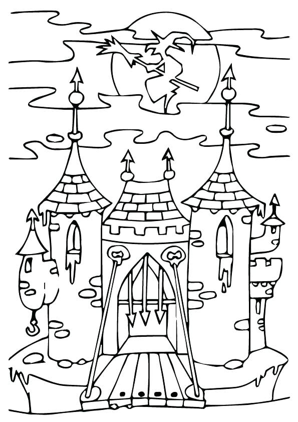 595x842 Best Haunted House Coloring Pages With Ghosts Also Haunted House