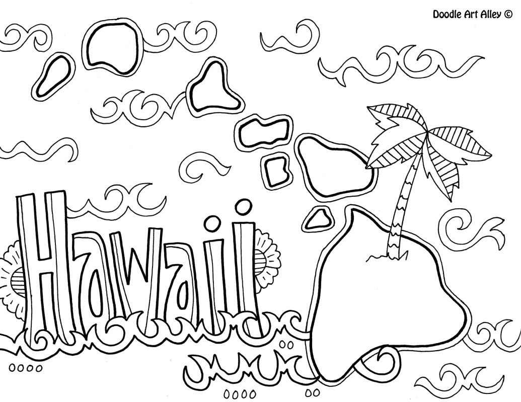 1035x799 Hawaii Coloring Page